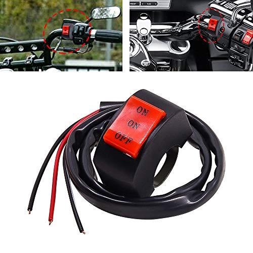 YnGia Interruptor de manillar de motocicleta, interruptor de foco de faro, interruptor de montaje de manillar de 3 cables Universal 7/8 pulgadas para conducción