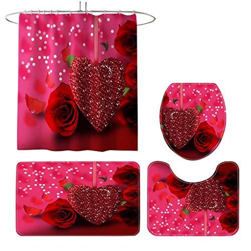 Orchid grass 4pcs Valentinstag Duschvorhang-Sets mit Rutschfesten Teppichen, Toilettendeckel, Badematte & 12 Haken Romantische Liebe Herz Duschvorhang für Valentinstag Dekoration