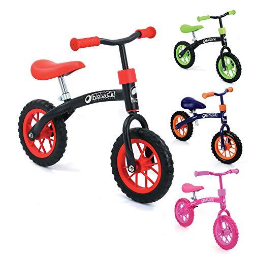 Hauck E-Z Rider Kinderlaufrad - 10 Zoll Laufrad, für Kinder ab 2, Lenker und Sattel höhenverstellbar, rot/schwarz