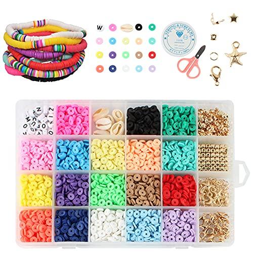 Guanyj Cuentas Coloridas Abalorios Conjunto de perlas para niños Conjunto de Artesanía de Joyería Pulseras de Bricolaje Con Hilo Elástico y Tijeras para Pulsera de Collar de Joyería de Bricolaje