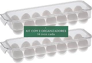 Kit Organizador com tampa para ovos com 14 cavidades - 2 peças - Paramount