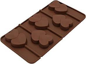 BESTONZON Two Hearts Lollipop Shape Soft Silicone Baking Mould DIY Chocolate Ice Candy Baking Mold Tray (Coffee)