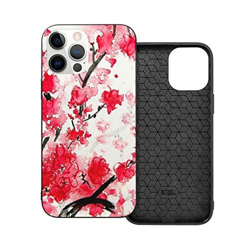 Funda protectora compatible con iPhone 12 / iPhone 12 Pro Cherry Blossoms Funda de silicona suave TPU