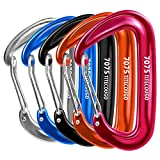 TITECOUGO Sturdy Carabiner Clips, 12KN (2697 lbs) Heavy Duty Caribeaners for Camping, Hiking, Outdoor and Gym etc, Small Carabiners for Dog Leash and Harness 5 Color