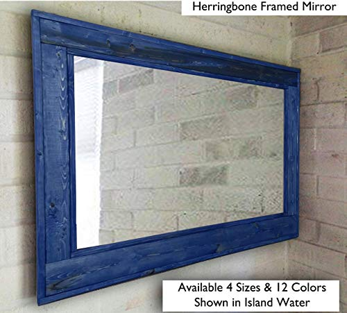 Herringbone Reclaimed Wood Framed Mirror, Available in 4 Sizes and 12 Colored -