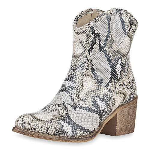 SCARPE VITA Damen Cowboy Boots Western Stiefeletten Blockabsatz Schuhe Leder-Optik Cowboystiefel Stickereien 180193 Weiss Hellgrau 40