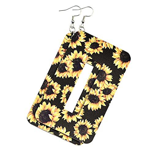 Serria Pendientes de Cuero de Moda para Mujer Pendientes de botón de Gancho con Estampado de Leopardo de Flores Pendientes Colgantes geométricos Ligeros para niñas (003#)