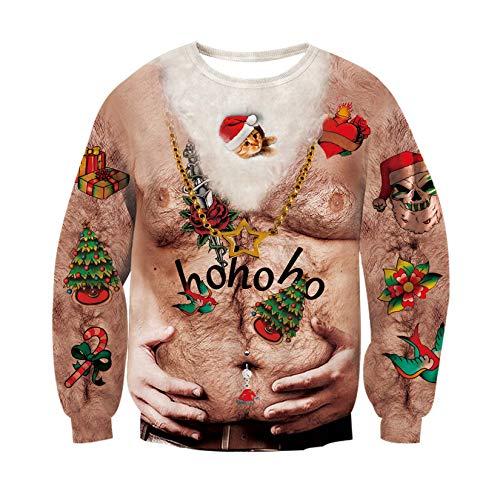 RAISEVERN Weihnachten hässlich Brusthaar gedruckt Langarm Pullover Unisex Männer Frauen Round Neck Pullover Pullover für Herbst Winter