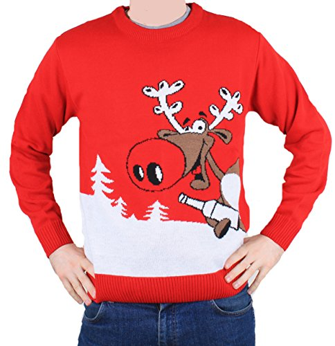 Weihnachtspullis.de Christmas Jumper Novelty Retro - Rudolph Reindeer Beer - Men & Ladies - S to XXL-X-Large