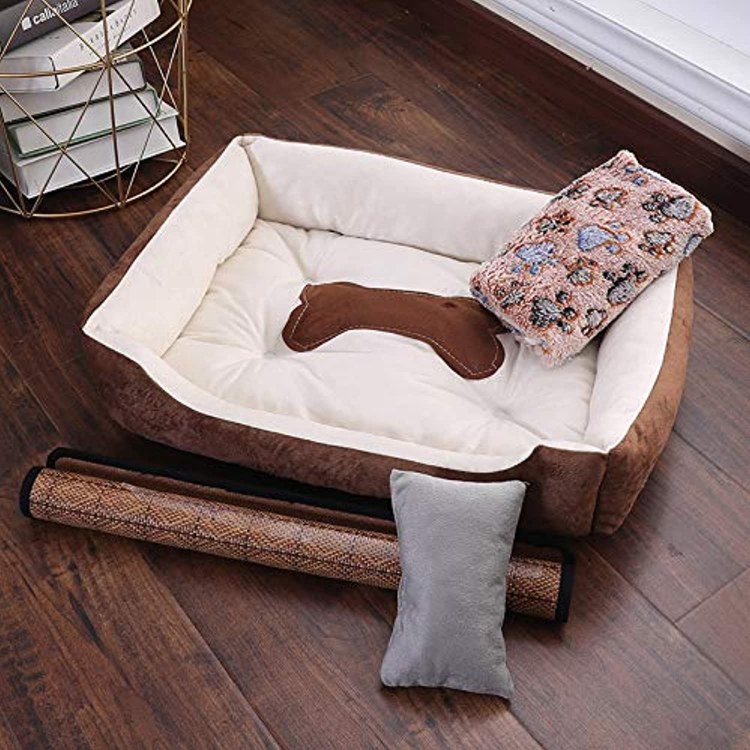 Glashaus Kennel winter Baodi small dog large dog bed four seasons universal dog mat pet nest cat litter, coffee beige fourpiece suit, 80  60cm