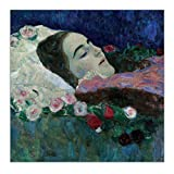W15Y8 Gustav Klimt 《Miss Ria Munk En Su Lecho De Muerte》 Arte En Lienzo Pintura Obra De Arte Póster Decoración Interior Del Hogar-60X80Cm Sin Marco