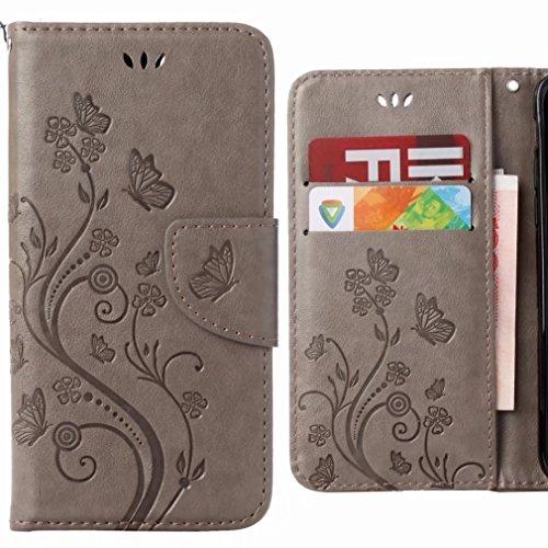 Ougger Hülle für LG Q6 Handyhüllen, Tasche Leder SchutzHülle Schale Weich TPU Silikon Magnetisch-Stehen Flip Cover Hülle für Tasche LG Q6 / M700 mit Kartensteckplätzen, Blumenstreifen (Grau)