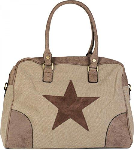 styleBREAKER Canvas Shopper Tasche mit aufgenähtem Stern, Kunstleder Applikationen, Schultertasche, Umhängetasche, Damen 02012083, Farbe:Khaki