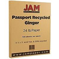 JAM Paper® 81/2×11用紙 24ポンド パスポートリサイクル 100 Sheets per Pack