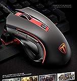 Ratón para videojuegos WWY 2.4G con cable móvil ratón óptico, 4 niveles DPI ajustables, 6 botones para portátil, PC, ordenador portátil, MacBook (color rojo)