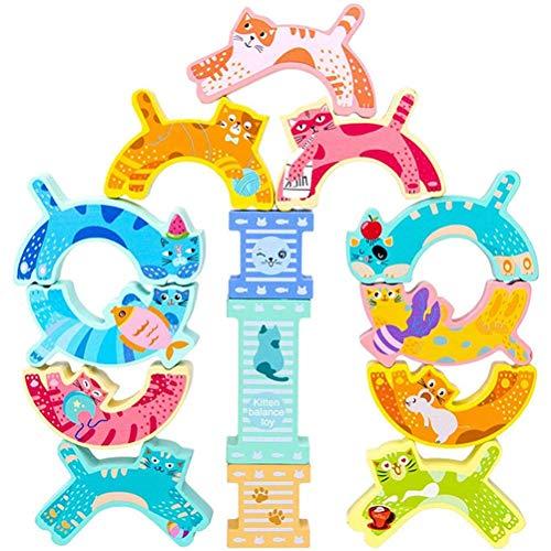 Evenwichtsbalk speelgoed voor vroeg onderwijs - Cartoon Kitten Stapelen Speelgoed voor Kinderen Houten Balans Blokken Vroeg Leren Balans Training Puzzelspel Speelgoed Cadeaus voor Kinderen