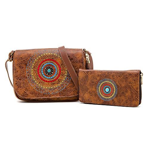Kit De Bolsa transversal + Carteira Mandala Bordada Nova Delhi Alice Monteiro Cor:Bronze