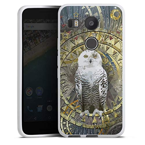 DeinDesign Silikon Hülle kompatibel mit Google Nexus 5X Hülle weiß Handyhülle Eule Malerei Tiere