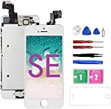 Mobkitfp for iPhone SE Screen Replacement White with Camera for A1662,A1723,A1724, Compatible with iPhone SE Screen Replacement Digitizer LCD Touch Display Pre-Assembled with Camera, Ear Speaker