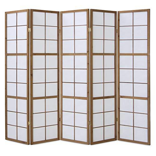 Homestyle4u 170, Paravent Raumteiler 5 teilig, Holz Braun Tabak, Reispapier Weiß, Höhe 175 cm