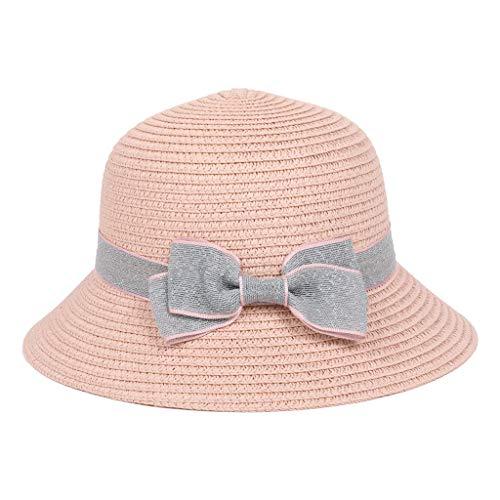 LOPILY Sombrero de Paja 5-8 años de Edad Los niños Sombrero de Playa Sombreros de Bohemia Sombreros Estilo Sombrero para el Sol Sombreros Precioso Bowknot para Accesorios(Rosada)
