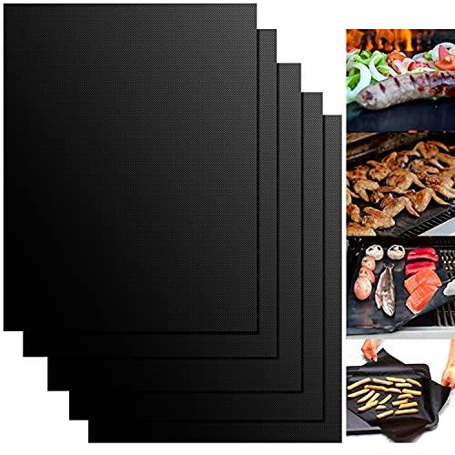 WOTEK Tappetini per Griglia Riutilizzabili Tappetino Barbecue Lavabili Tappetini BBQ Antiaderenti Resistenti Teflon per Griglia a Carbone Gas Weber Forno Elettrico - 5 Pezzi (Nero) 50 * 40cm