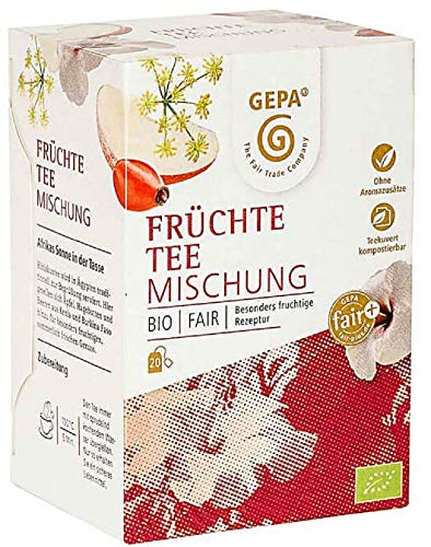Gepa Bio Früchtetee Mischung - 100 Teebeutel - 5 Pack ( 20 x 2g pro Pack)