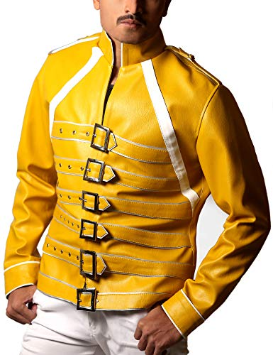 STOREJEES Yellow Faux Leather Music Concert & Rock Party Costume Jacket for Men - Small