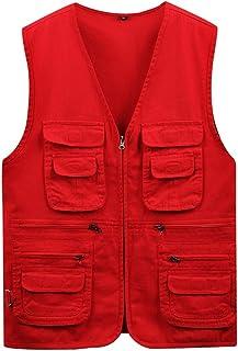 Men's vest Cotton Outdoor vest Fishing vest Thin vest Multi-Pocket vest (Color : Red, Size : XXXL)