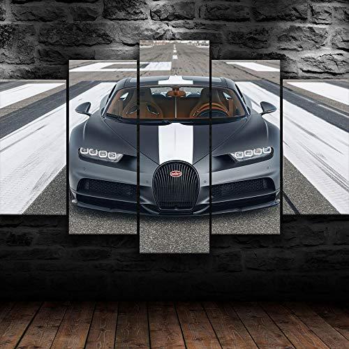 KOPASD Coche Deportivo Bugatti Chiron Gris 5 Panel Lámina del Paisaje del Arte impresión en Lona Cuadros de la Pared de la Foto,para el hogar decoración Moderna impresión