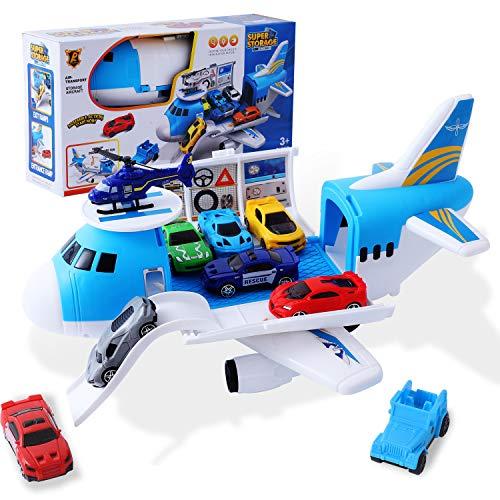 Herefun Flugzeug Spielset, Flugzeug-Spielzeug mit Auto Helikopter, Kinder Fahrzeuge Lernspielzeug Spielzeugauto Set, Jungen Fahrzeuge Mini Autos Spielzeug für Kinder (10 PCS)