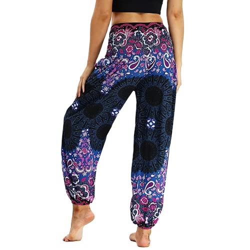 QTJY Pantalones Sueltos Bohemios de Moda para Mujer Pantalones de Yoga Hippie Casuales Pantalones Sueltos de Aladdin Harem Pantalones de Yoga J S