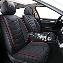 BLUEWALDON Car Seat Covers,Universal fit car Set Cover Set,Cushion Cover with Water Proof Faux Leather Durable Use for All Seasons(Full Set,Black and Beige) (Black&Red Line, 5 Seats Full Set)