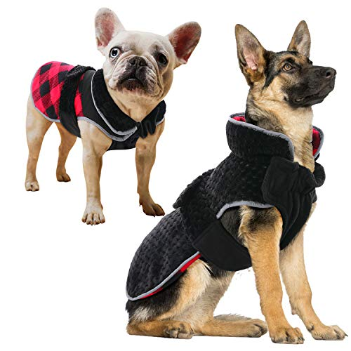 ROZKITCH Dog Winter Coat Classic British Plaid Dog Cold Weather Coats, Reversible Fleece Warm Jacket Pet Clothes Reflective Adjustable Vest Windproof Collar Outdoor Apparel for Small Medium Large Dogs