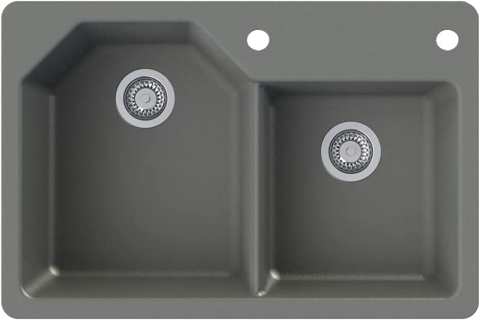 Transolid GTDO3322-17-AD Genova SilQ Granite 2-Hole Large discharge sale Ranking TOP1 Dual-mount D