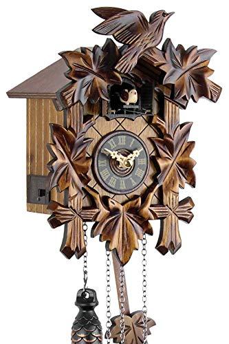 Schwarzwälder Kuckucksuhr aus Echtholz mit batteriebetriebenem Quartzwerk und Kuckuckruf - Angebot von Uhren-Park Eble - Engstler -Fünflaub 22cm- 522 Q