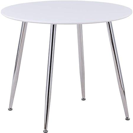 GOLDFAN Table de Salle à Manger Petit Ronde Table de Cuisine Haute Brillance Moderne Nordique 80cm Blanc