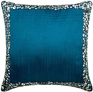 The HomeCentric Decorative Royal Blue Euro Pillowcases 26x26 inch, Silk Euro Pillow Cases, Bordered, Sequins Embellished, Modern Euro Size Pillowcases - Royal Blue & Silver