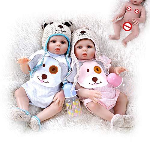 Gemelli Simulazione Baby Doll Reborn Corpo Silicone Vinile 19 Pollici 48 Cm Bocca Magnetica Full Alive Baby Vero Ventre Giocattolo per Bambini Regalo di Compleanno,Twins,Twins