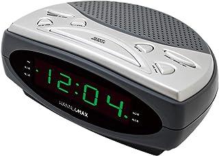 "HANNLOMAX HX-137CR Alarm Clock Radio, PLL AM/FM Radio, Dual Alarm, 0.9"" Green LED Display (Gray)"