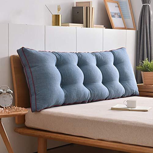 NMDD Cojines para la Espalda de la cabecera Almohada Triangular de cuña Tatami Suave Cojín de Apoyo Lumbar Cama Tapizada Cabecera Respaldo Reforzar Cojín para sofá-Azul 200x50cm