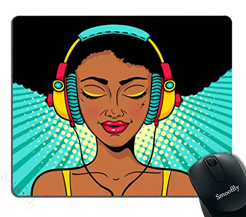Smooffly Gaming Mouse Pad Custom Design,Young Sexy Afro American Woman Non-Slip Rubber Mousepad Gaming Mouse Pad