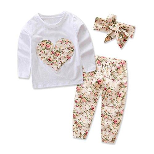 Ropa Bebe Niña Invierno Otoño de 0 a 24 meses SMARTLADY Bebé Niñas Camisetas de manga larga y Pantalones de flores + Vendas de pelo Conjunto de ropa (18-24 meses, Beige)