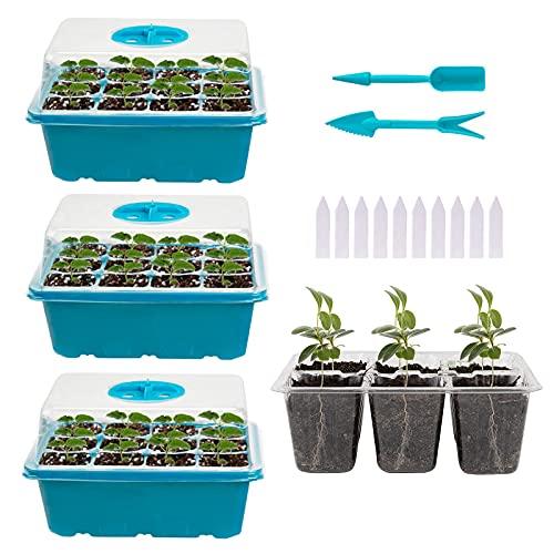 Bandejas de Semilleros, Paquete de 3 Bandejas de Inicio de Plántulas, (12 Celdas por Bandeja), Mini Kit de Cultivo de Plantas, Bandejas de Cultivo de Invernadero para el Crecimiento de Semillas