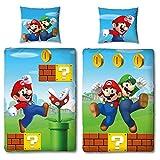 NINTENDO Super Mario - Juego de ropa de cama para niños, reversible, funda nórdica de 135 x 200 cm, 100% algodón