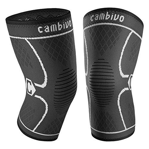 CAMBIVO 2 x Kniebandage Damen und Herren, Knieschoner, Kniestützer für Laufen, Wandern, Joggen, Sport, Volleyball, Crossfit (XL, Schwarz/Grau)