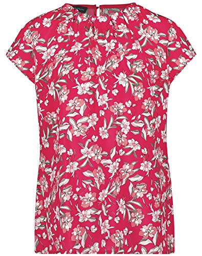 Taifun Damen Blusenshirt Mit Floral-Print Figurumspielend Paradise Pink Gemustert 40