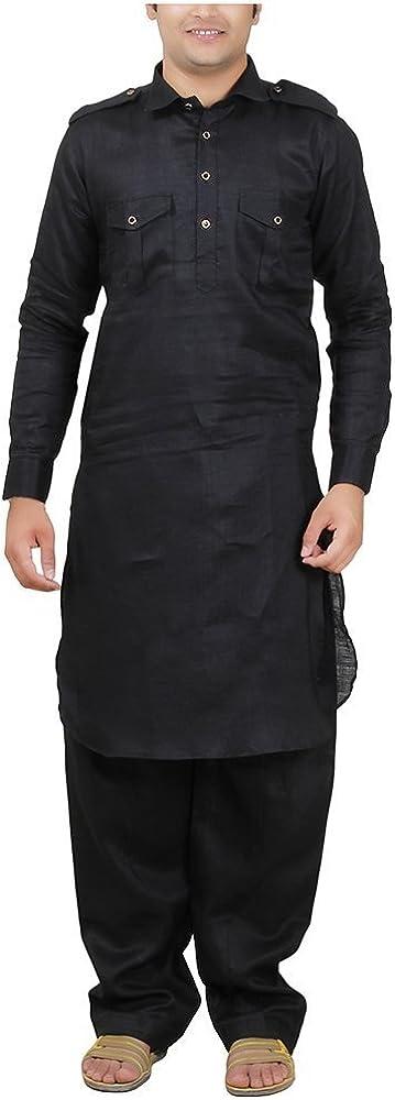 Royal Men's Bollywood desginer Linen Pathan Suit