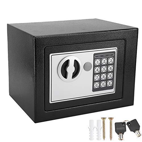 Ausla Möbeltresor, elektronisch, Tresor für Hotels, kleiner Tresor, aus Stahl, 2 Schlüssel für Notöffnung, Schwarz
