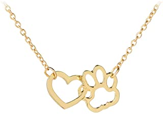 Paw Print Necklace for Women Girls Dog Cat Pet Footprints Choker Necklace Jewelry for Birthday Christmas Gifts Gold